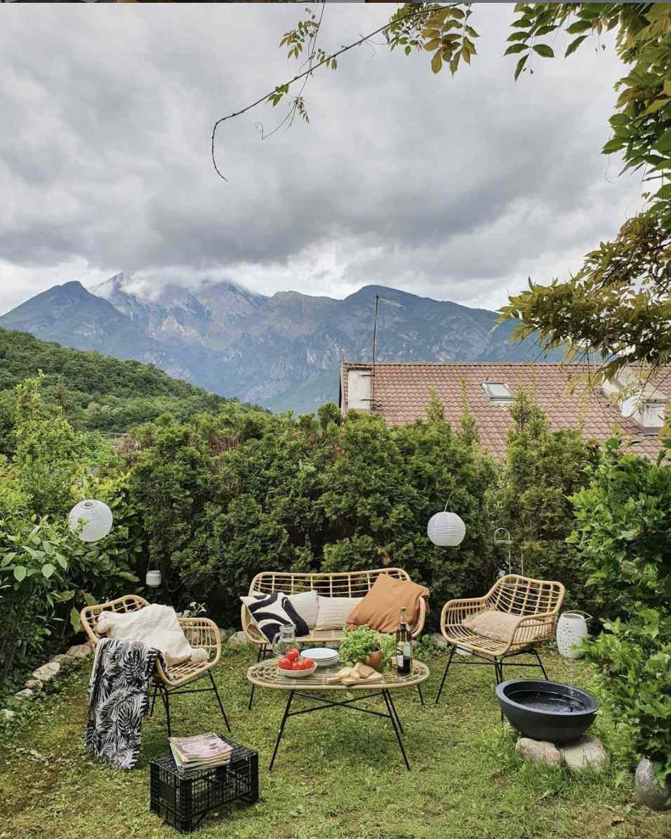 backyard with a stunning view of mountains
