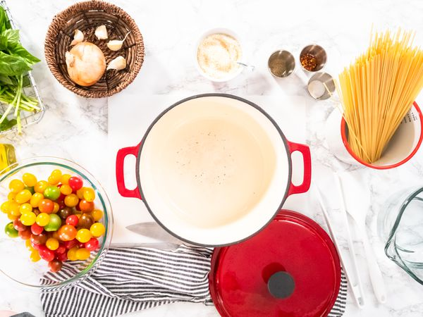Dutch oven with pasta ingredients