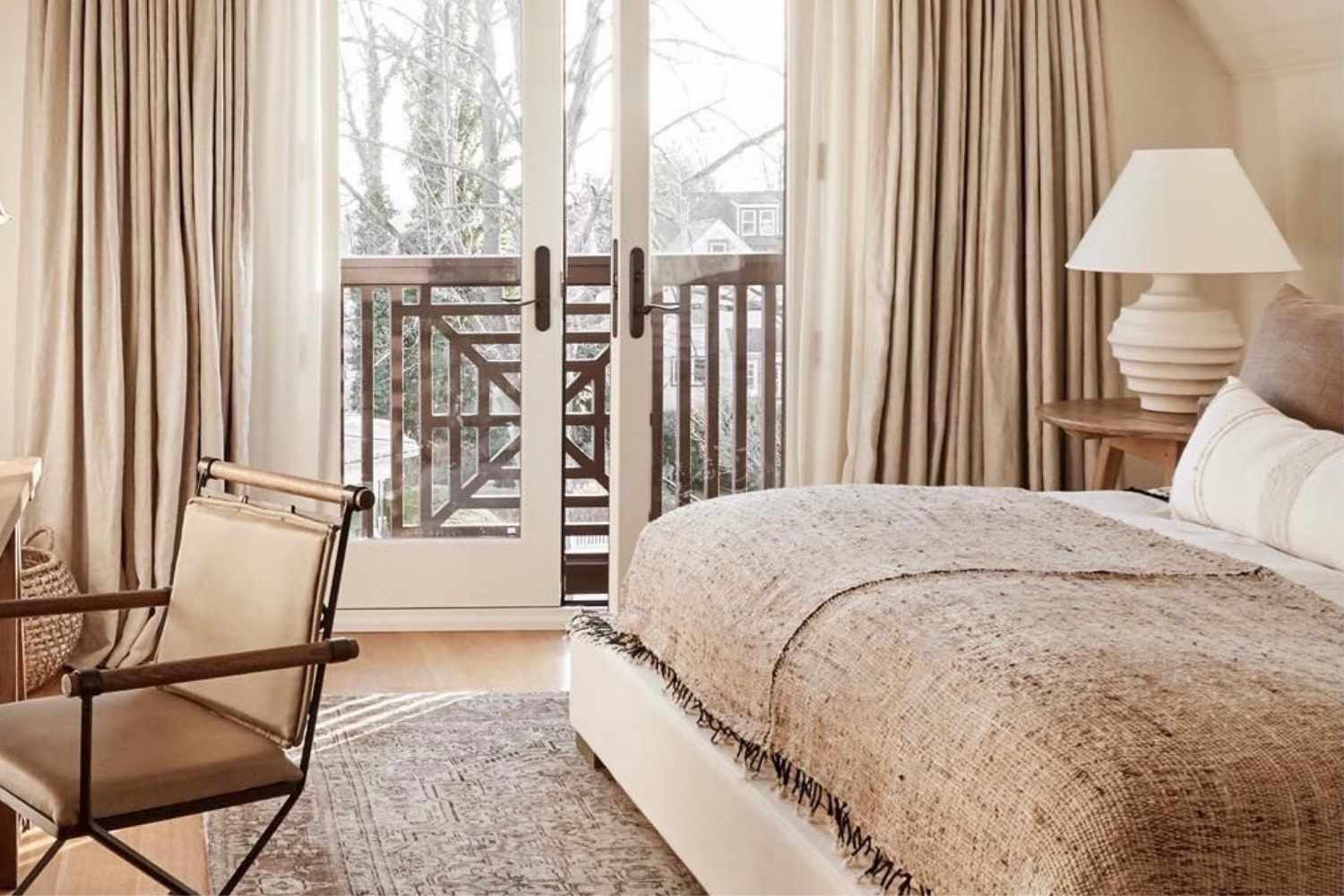 brown and white farmhouse bedroom