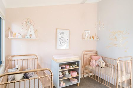Peachy Pink Grey And Gold Twin Nursery