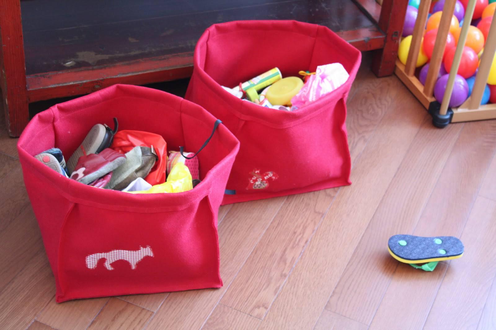 DIY felt fabric storage baskets