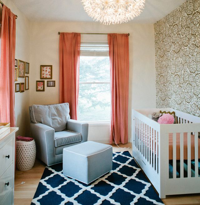 Coral and Navy nursery with stunning gold floral accent wall