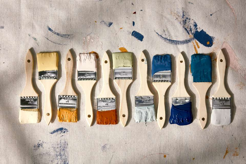 Paint brushes in various colors