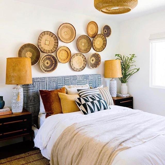 Bed with wicker baskets