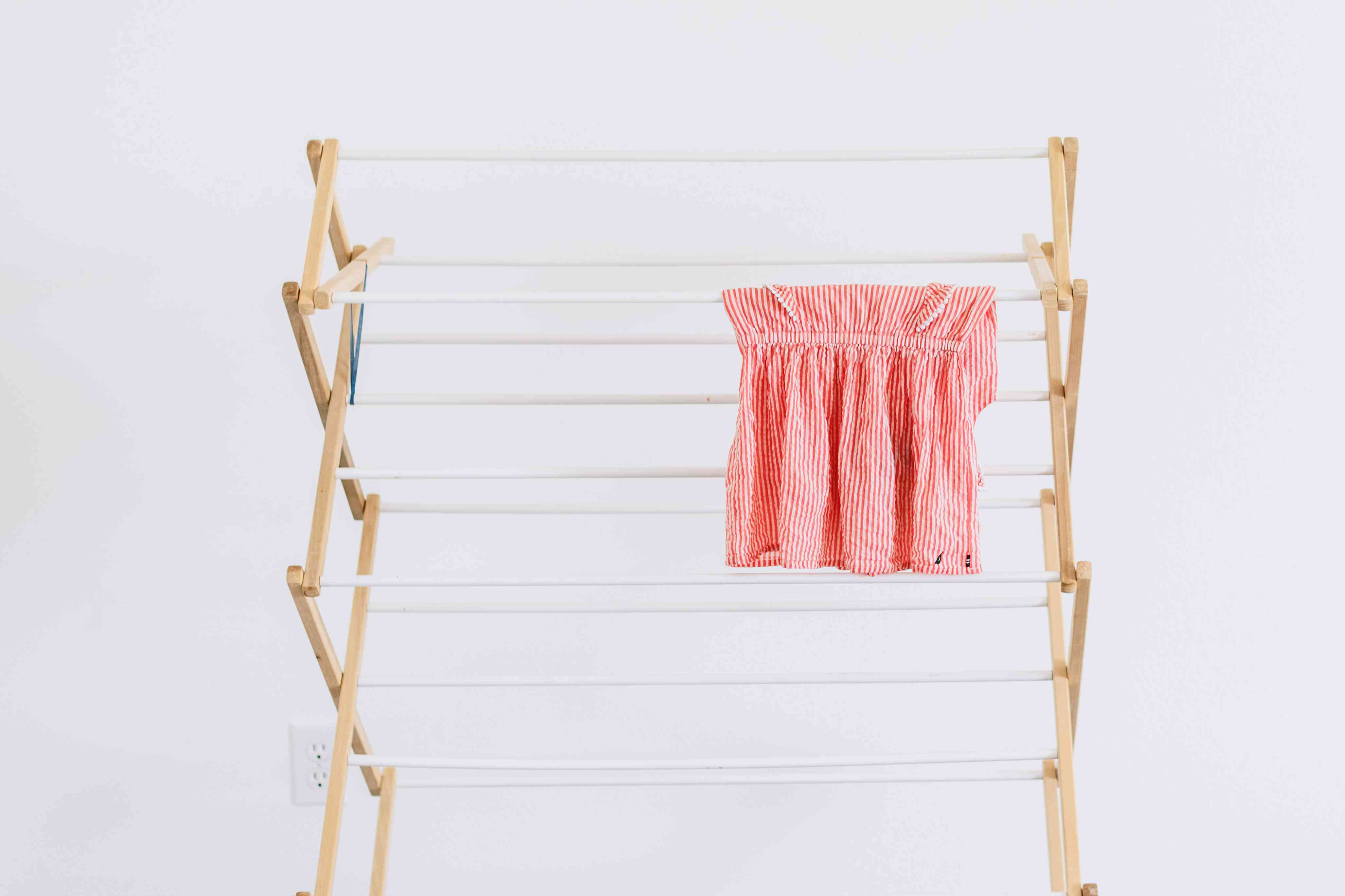 garment air drying on a rack