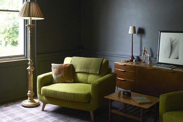 Retro furniture in traditional drawing room