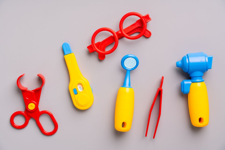 Doctor set toy for Kid in creative education concept in flat lay