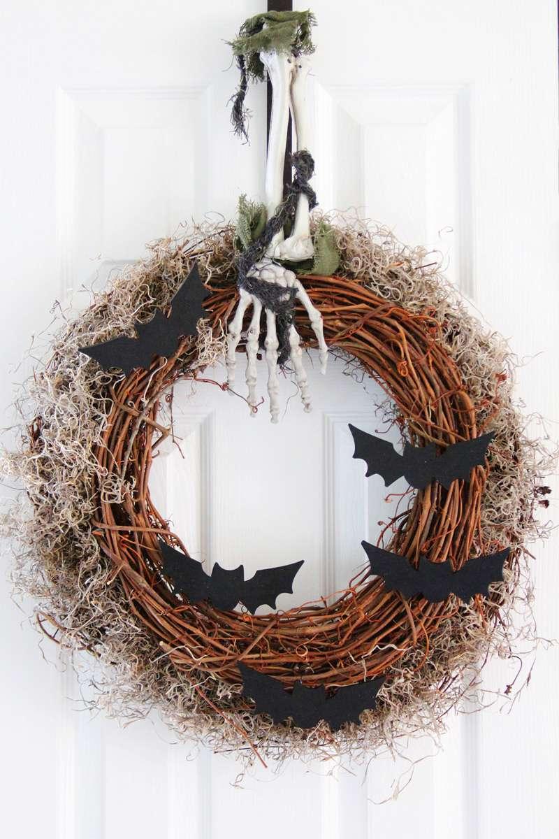 A bat wreath on a white door