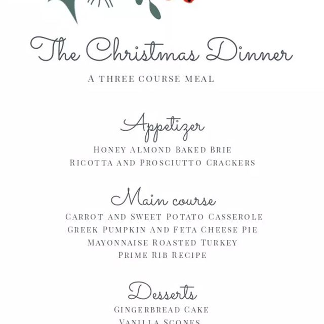 A Christmas menu with holly and berries