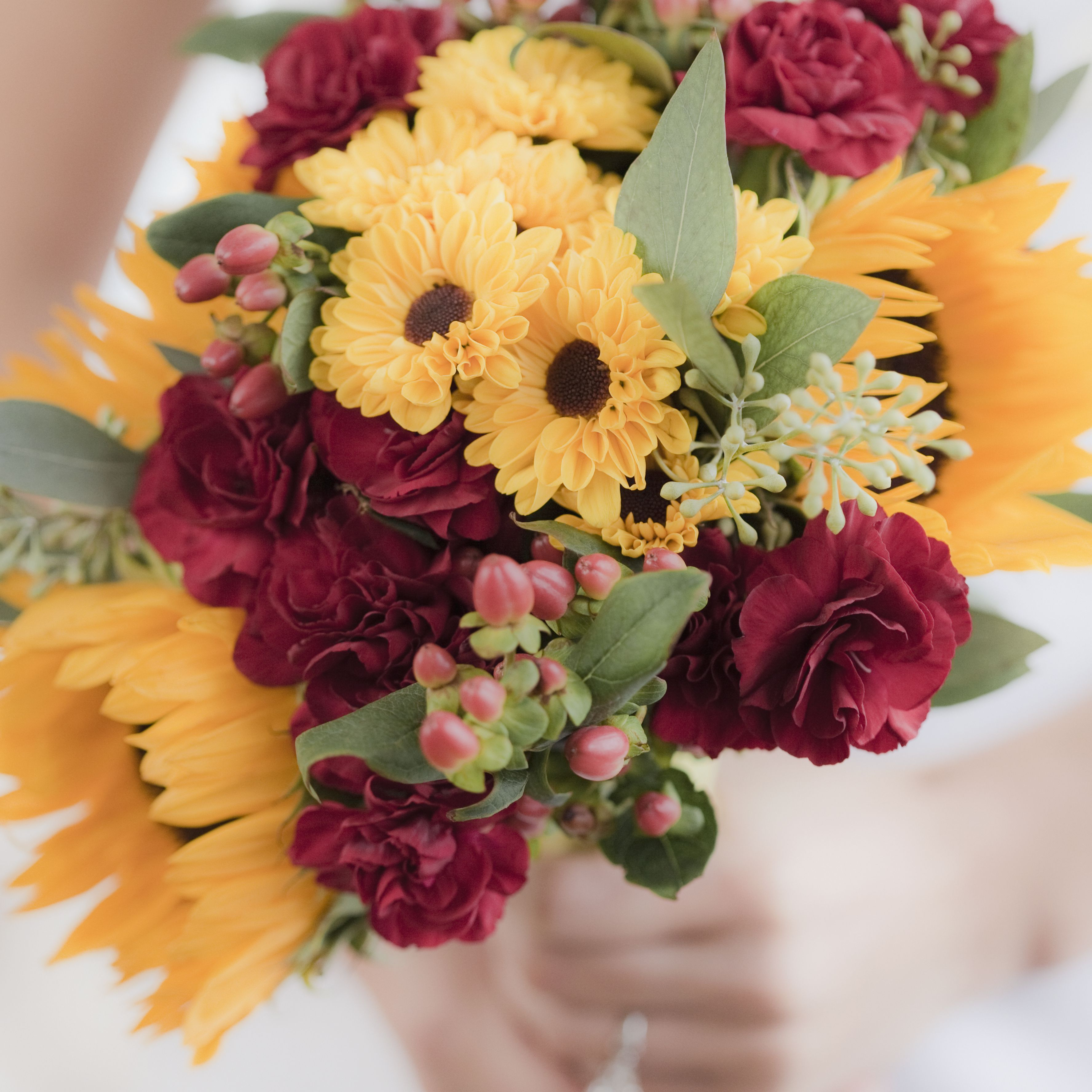Rose and sunflower bridal bouquet