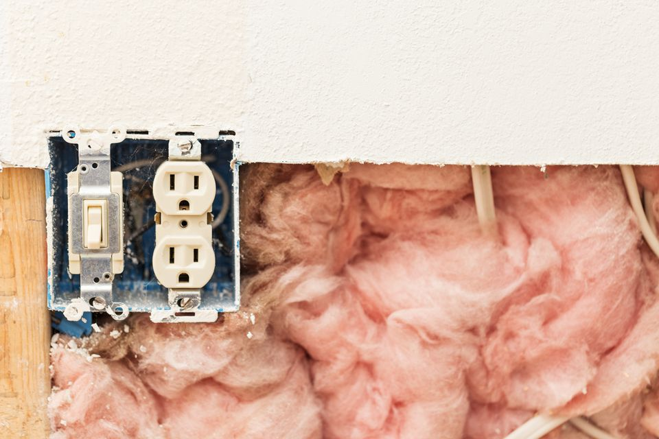 Pink Fiberglass Insulation with Electrical Wires