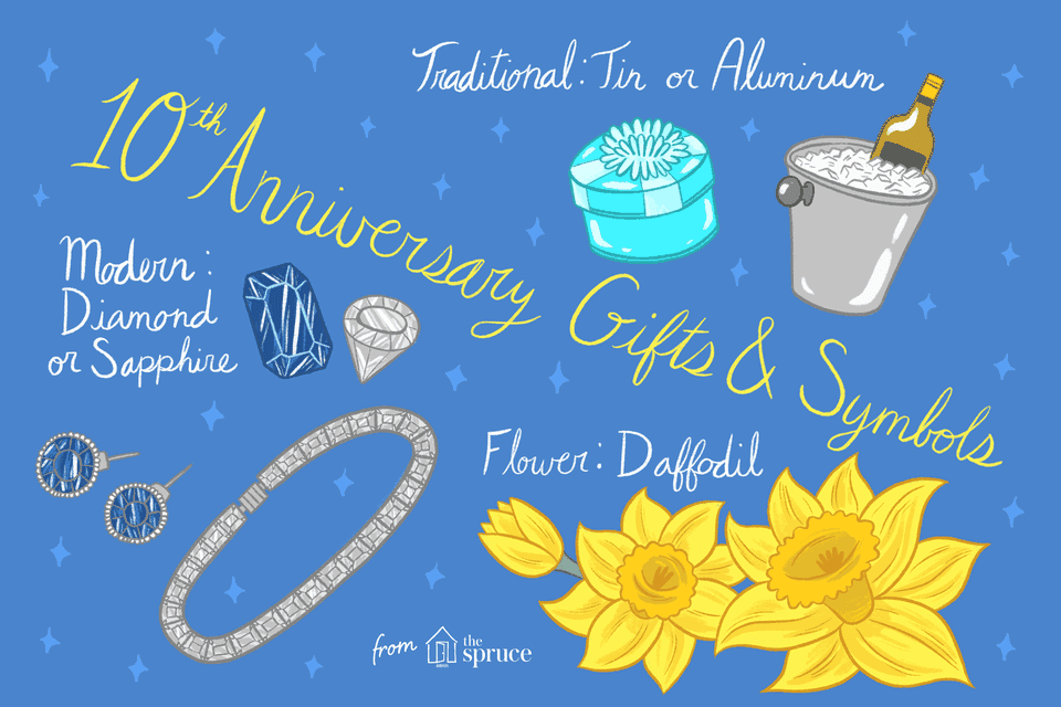 illustration of 10th anniversary gifts and symbols