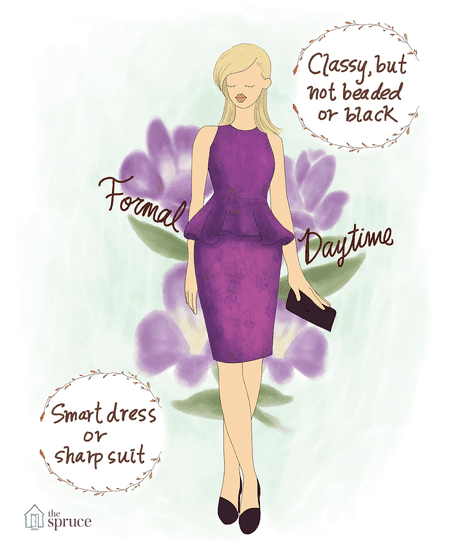 82903c844f5 Illustration of what to wear to a formal daytime wedding