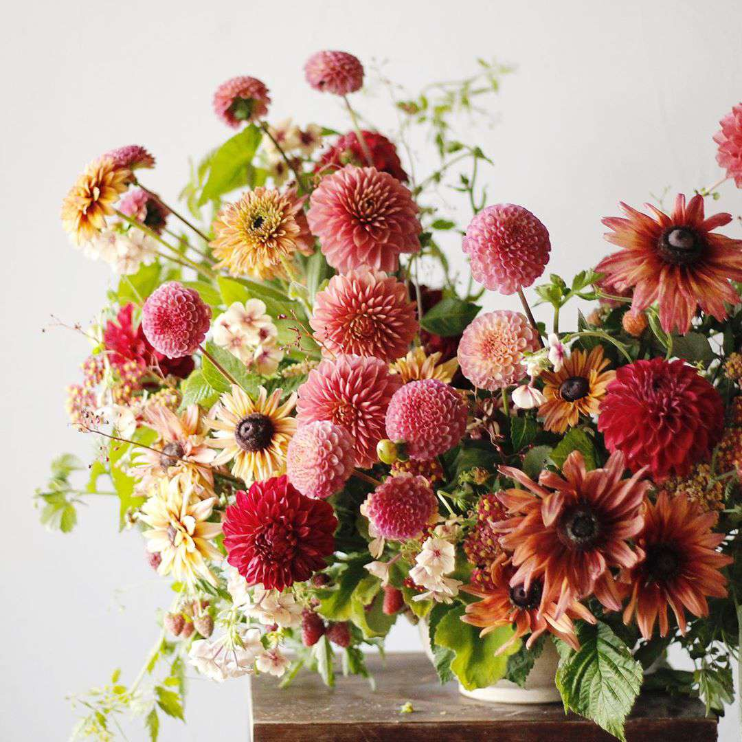 Pink and red flower arrangement
