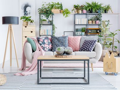 living room with mixed patterns