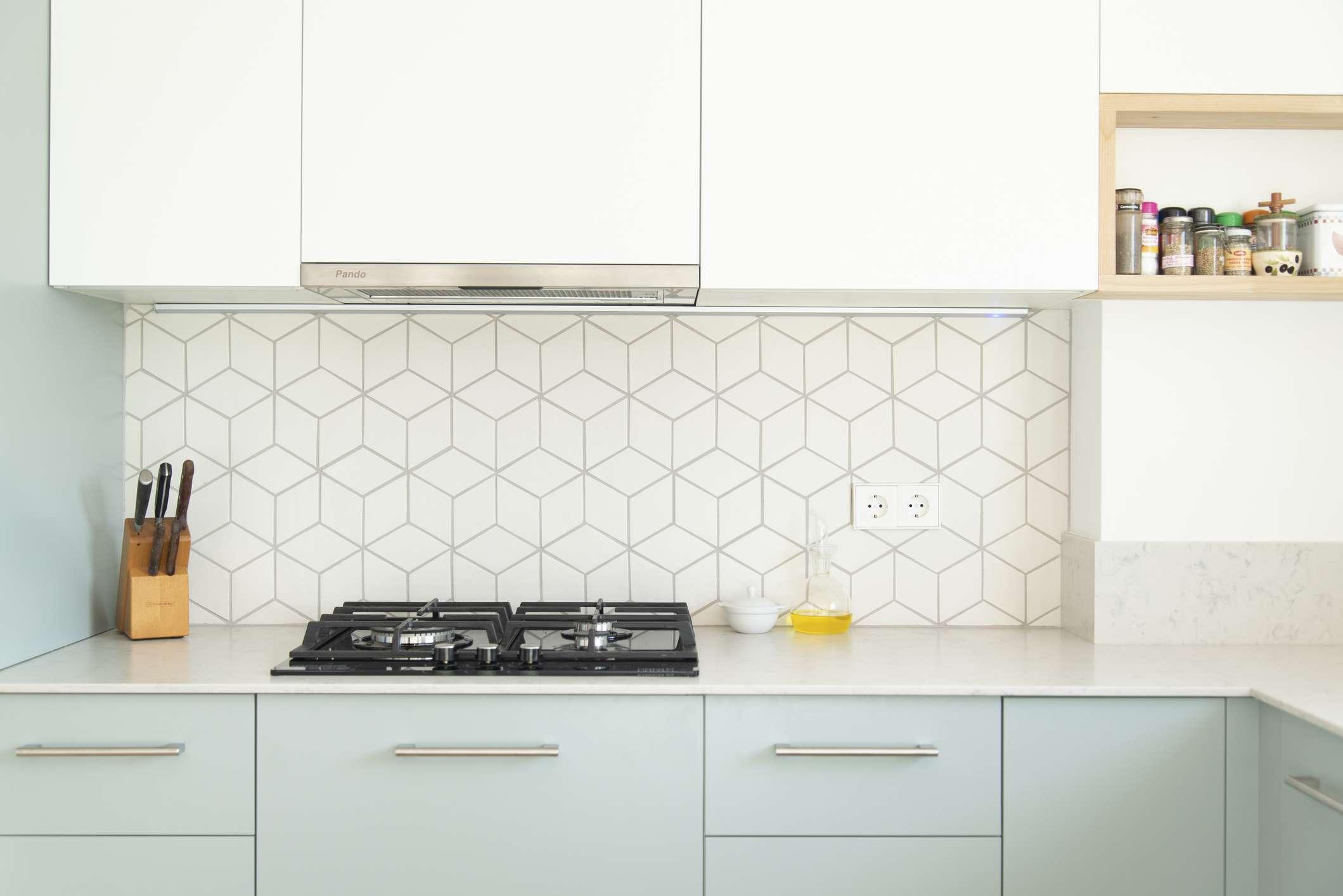 Subtle geometric kitchen backsplash