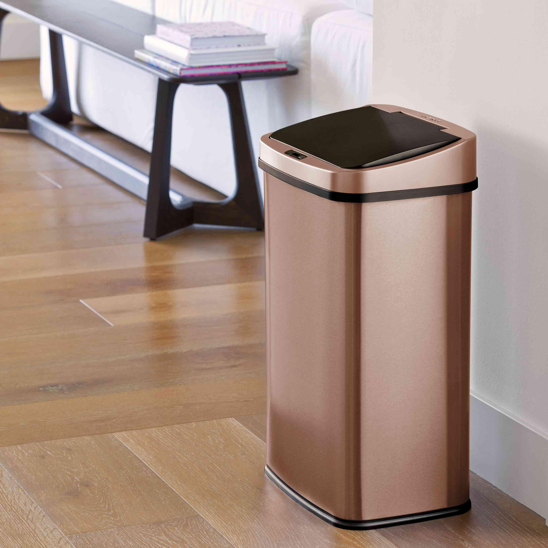NineStars Motion Sensor Touchless 13.2 Gal Trash Can, Gold Stainless