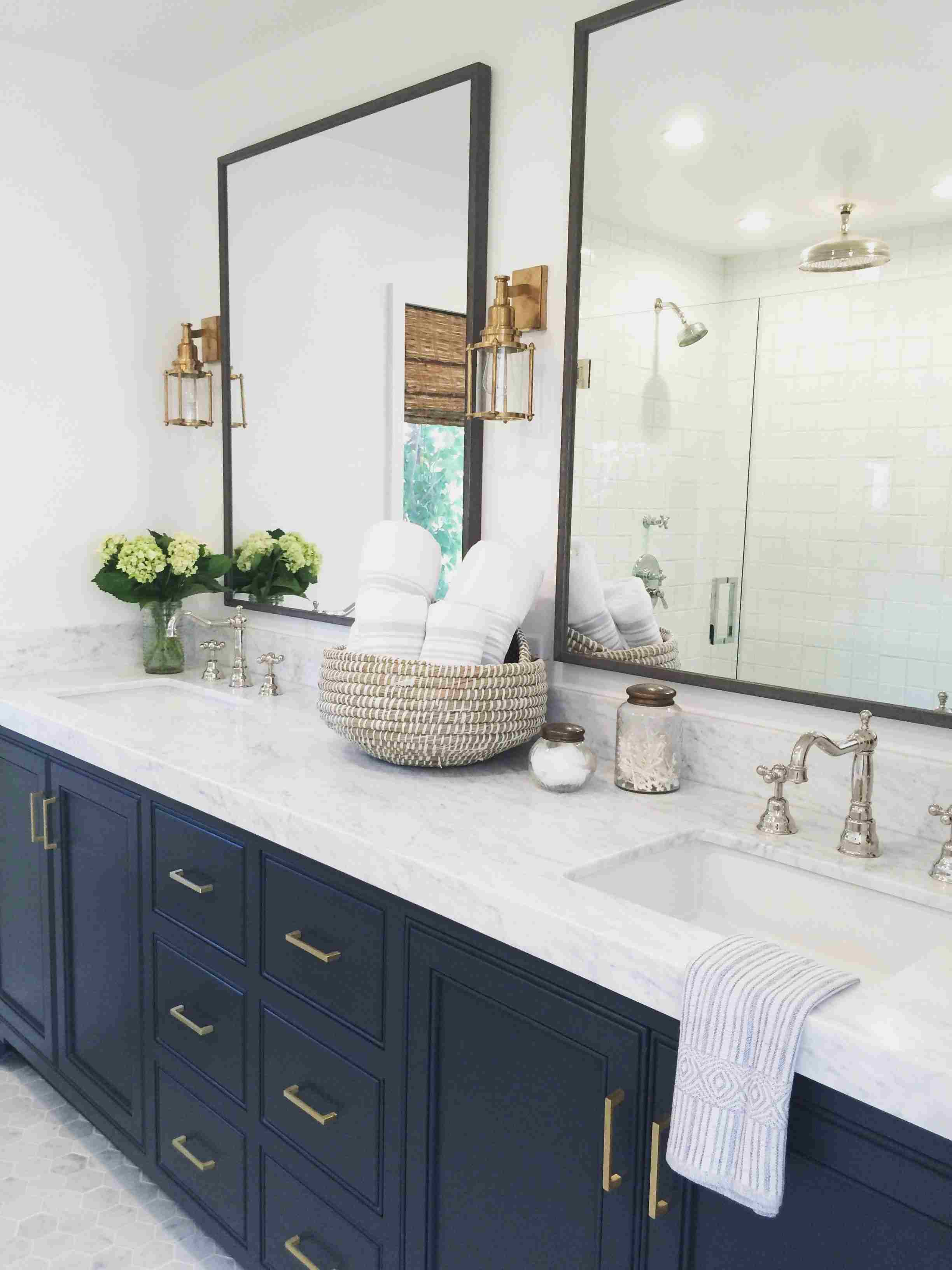 Navy Blue Cabinets In Bathroom - Bathroom Design Ideas