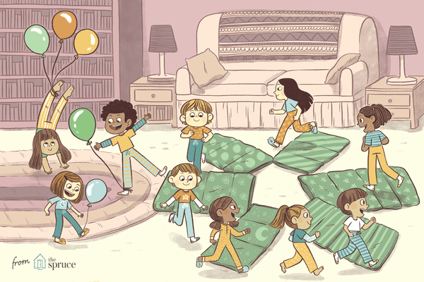 illustration of kids' sleepover party games