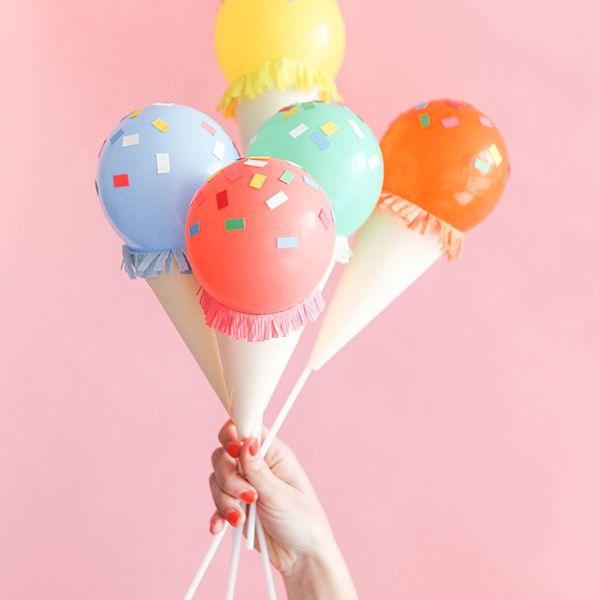 DIY Ice Cream Cone Balloon Sticks