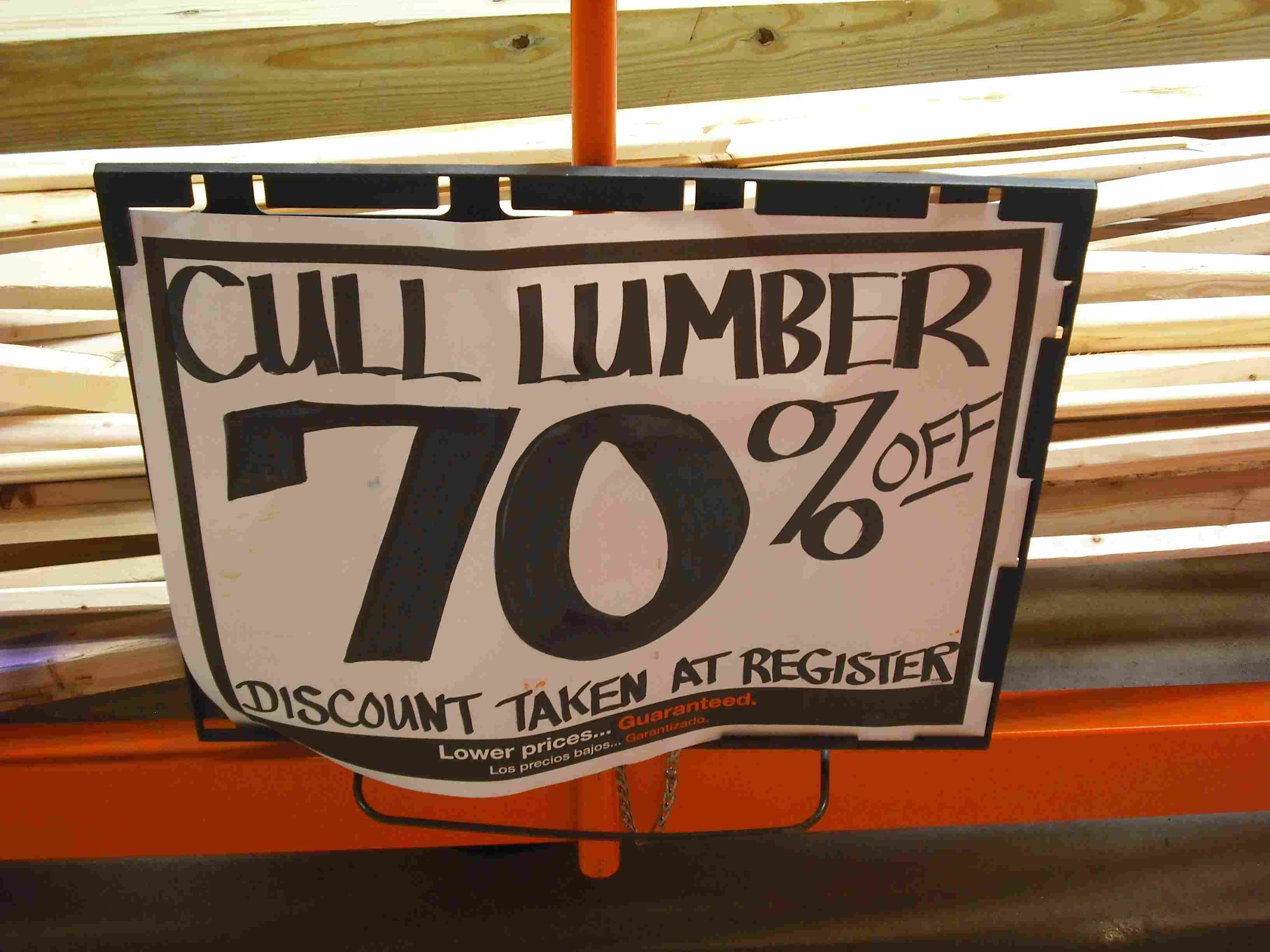 Cull lumber sign
