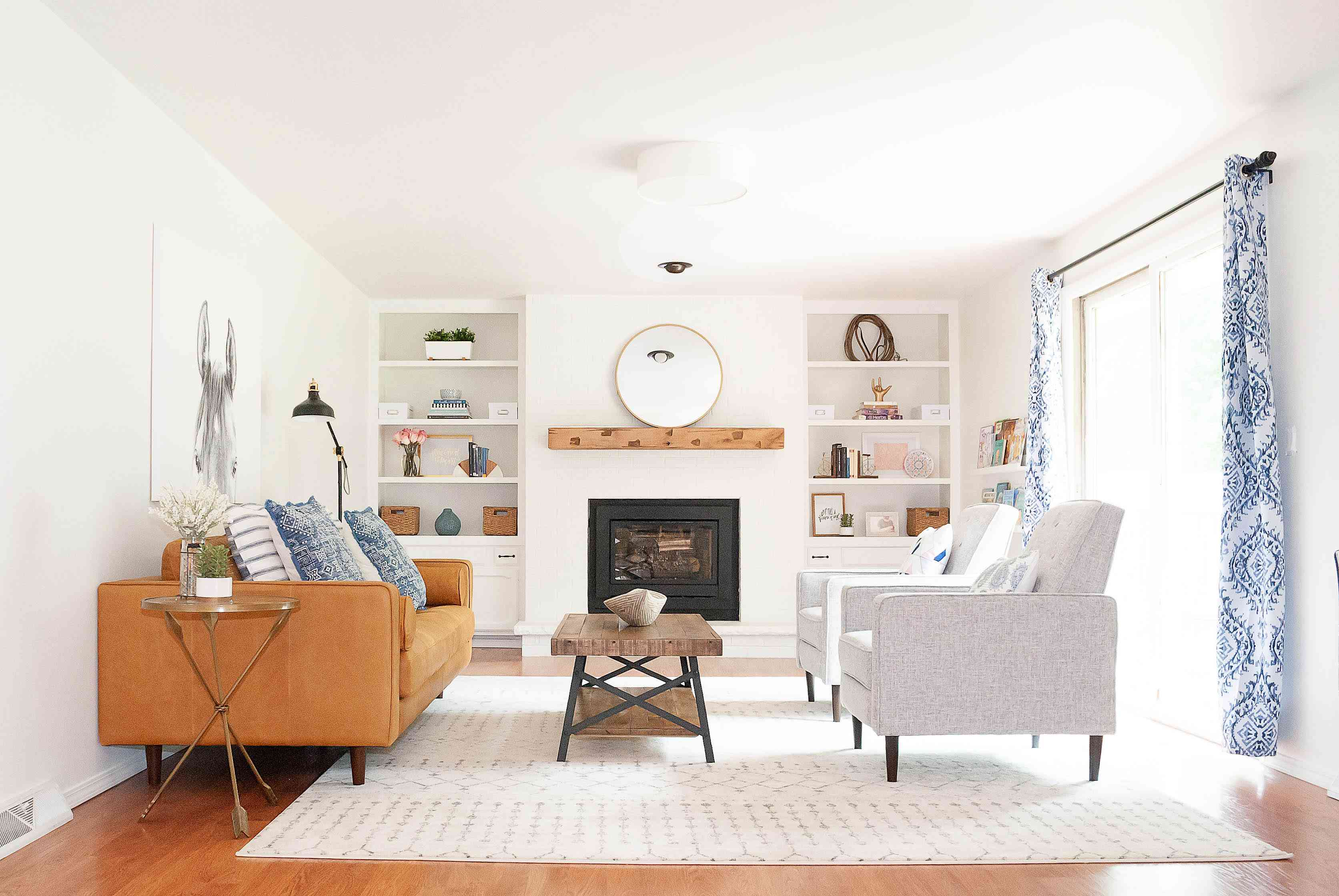 A bright white living room