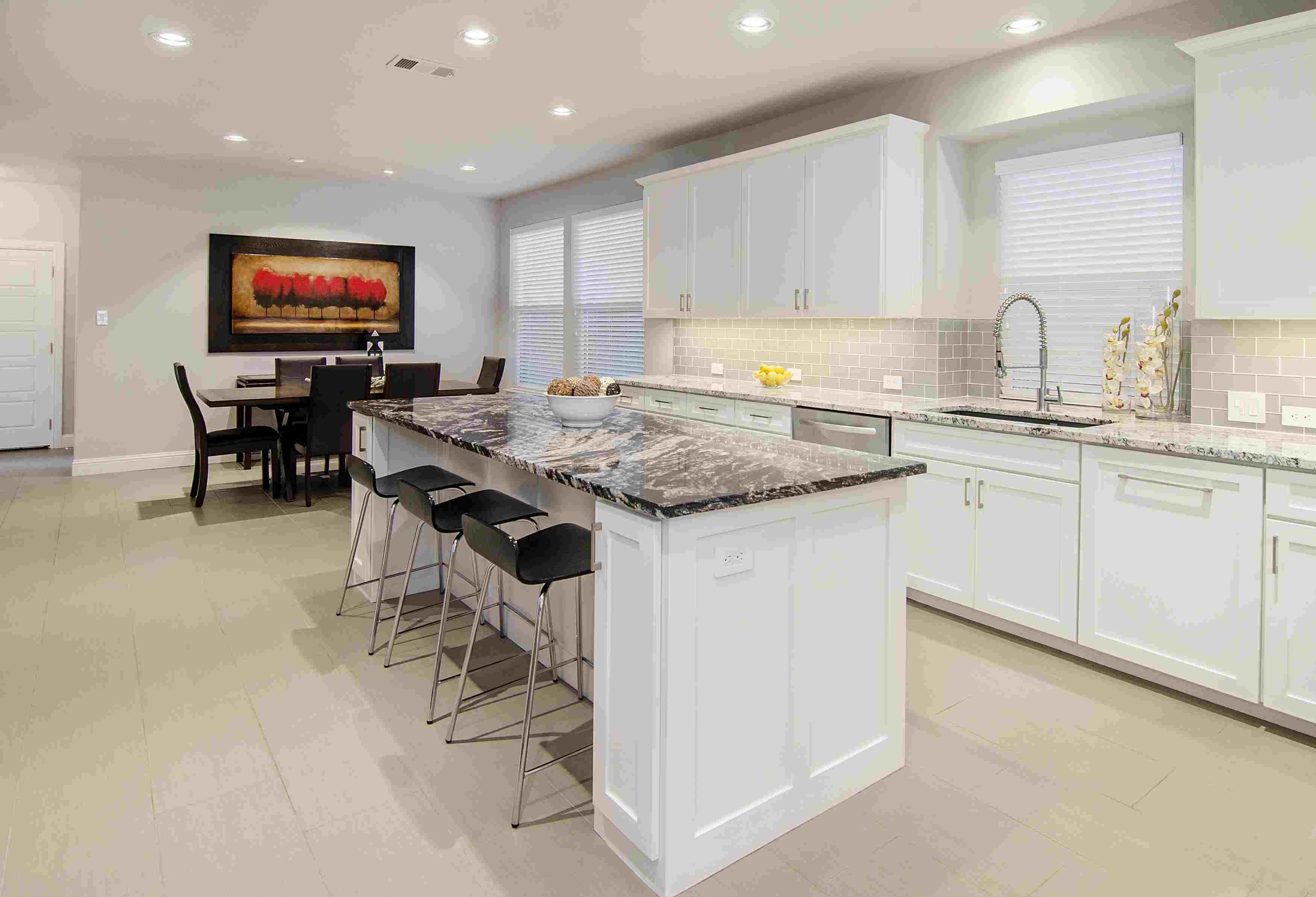 Two different granite countertops in kitchen