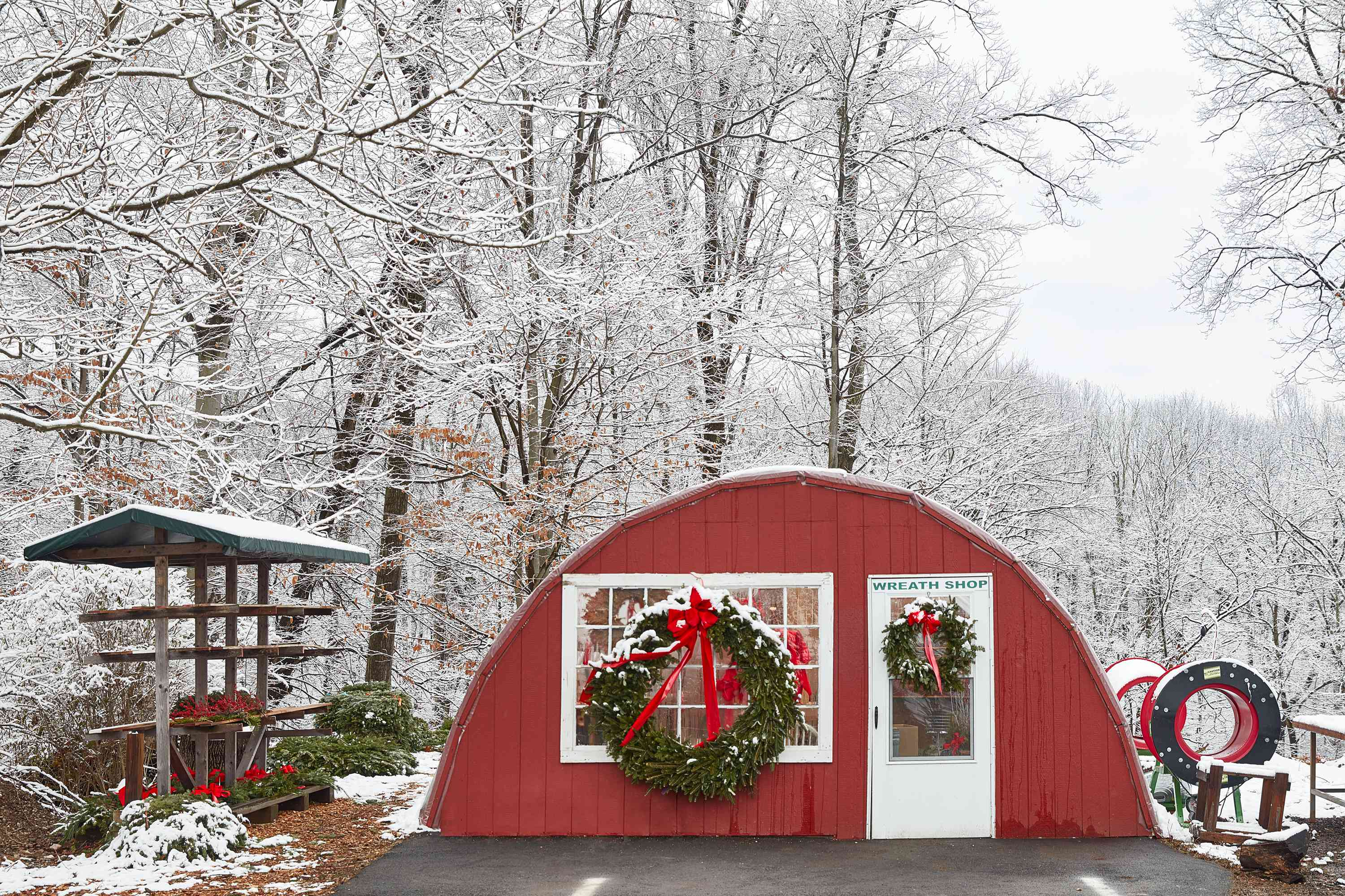 wreaths hung on the exterior of a home