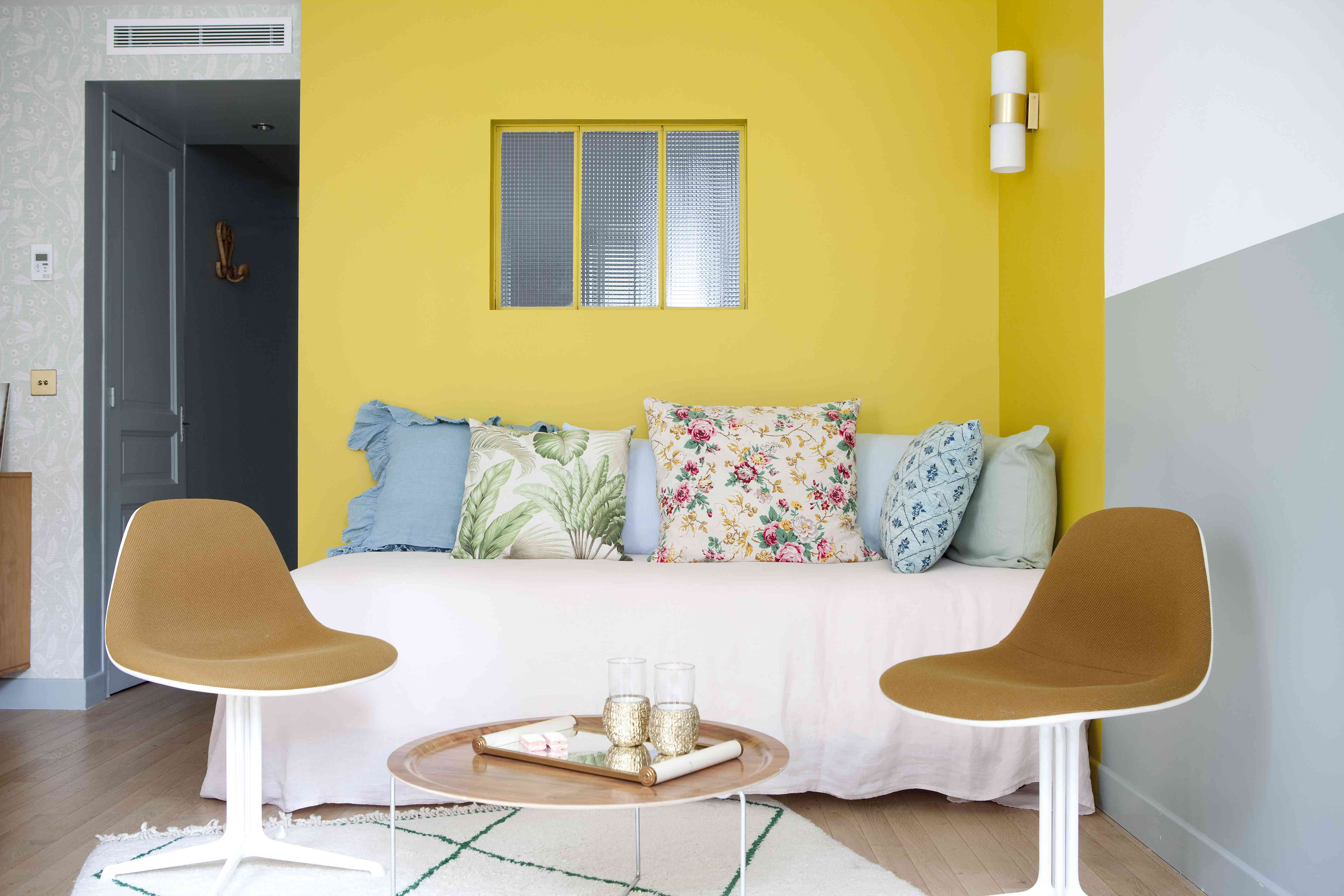 Yellow and blue gray sitting room