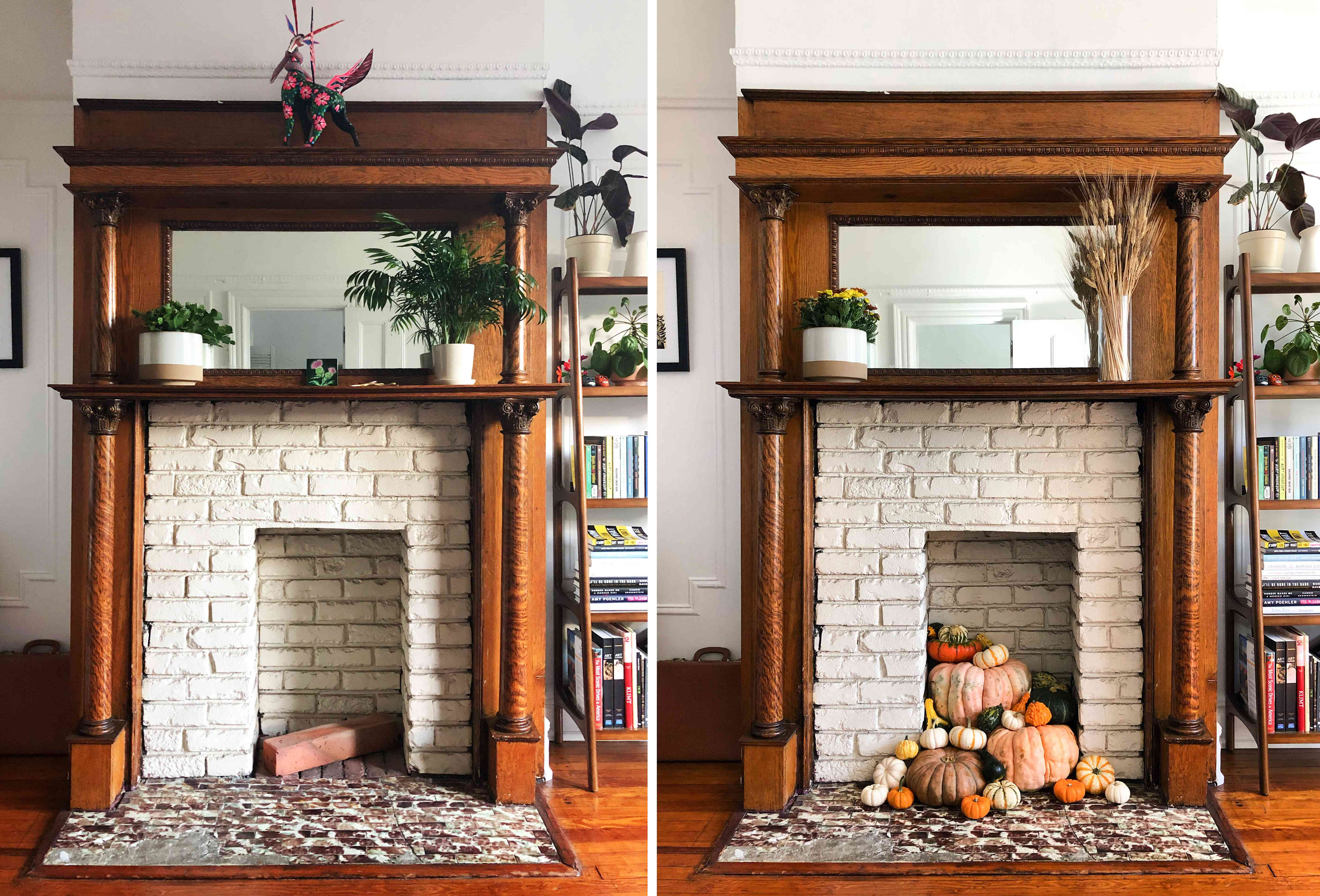 Before and after photos of a white brick fireplace decorated for fall