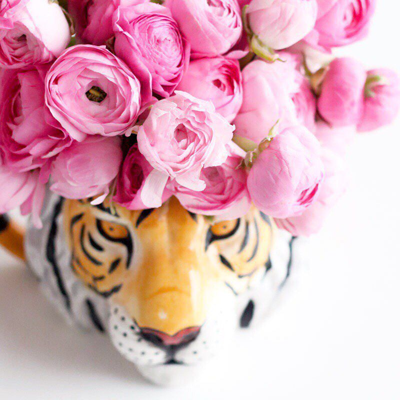 roses in a tiger vase