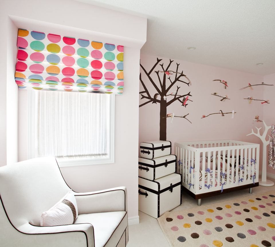 A nursery with an unusual color palette