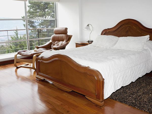 Interiors of a bedroom with laminate