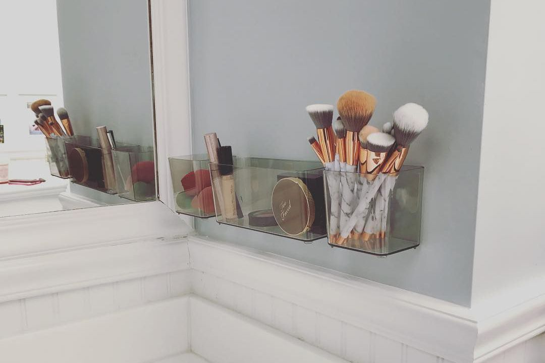 makeup holder on the wall
