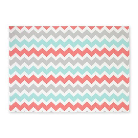 Bright And Cheery Chevron Nursery Rug In Grey Aqua Teal