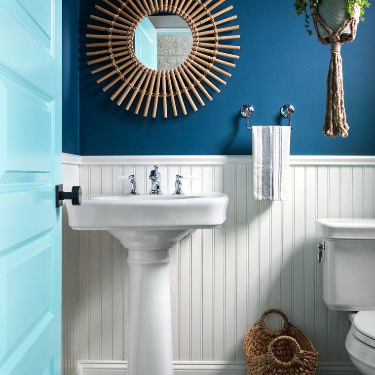 blue and white teen bathroom