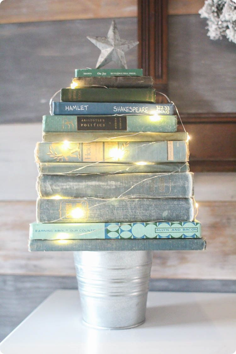 Image result for book stack christmas tree diy thespruce