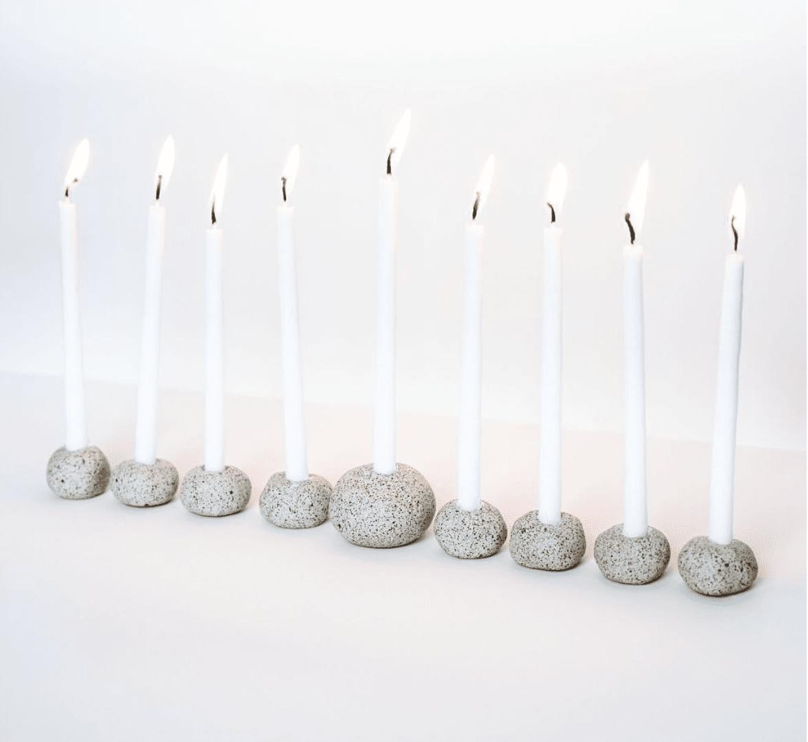 Keraclay Stoneware Menorah Set