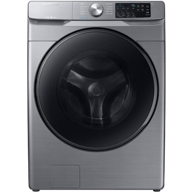 The Samsung WF45R6100AP 4.5 cu. ft. High-Efficiency Front Load Washing Machine has 10 cycle options to choose from and cleans thoroughly.
