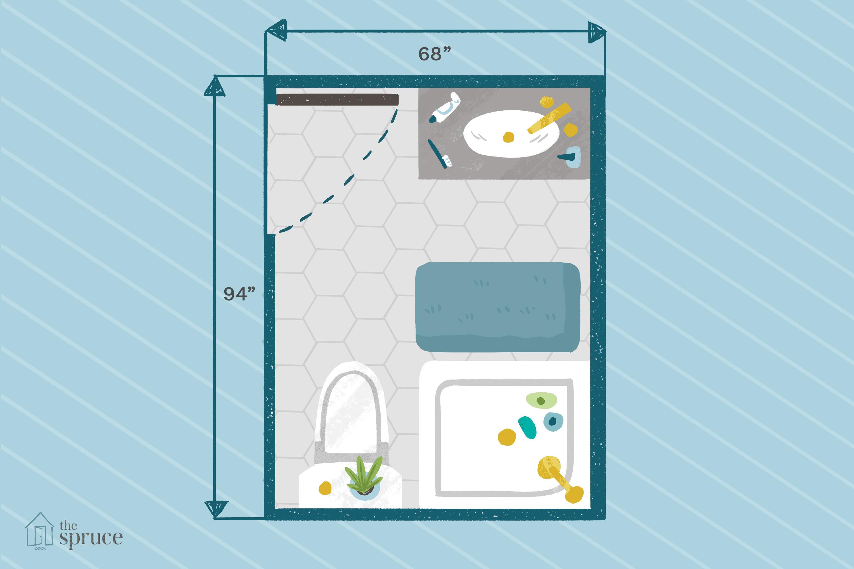 "Illustration of basic three quarter bathroom floor plan measuring 68""x94""."