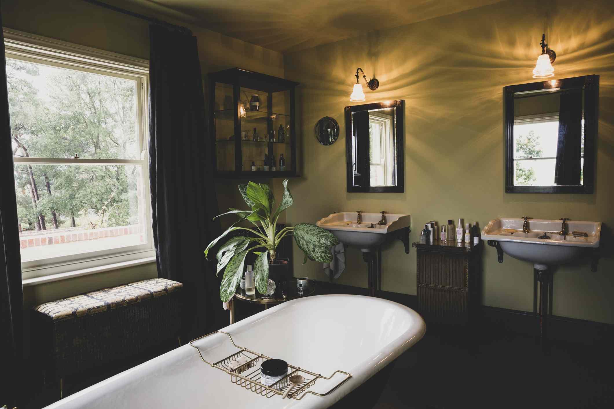 Vintage bathroom with black accents