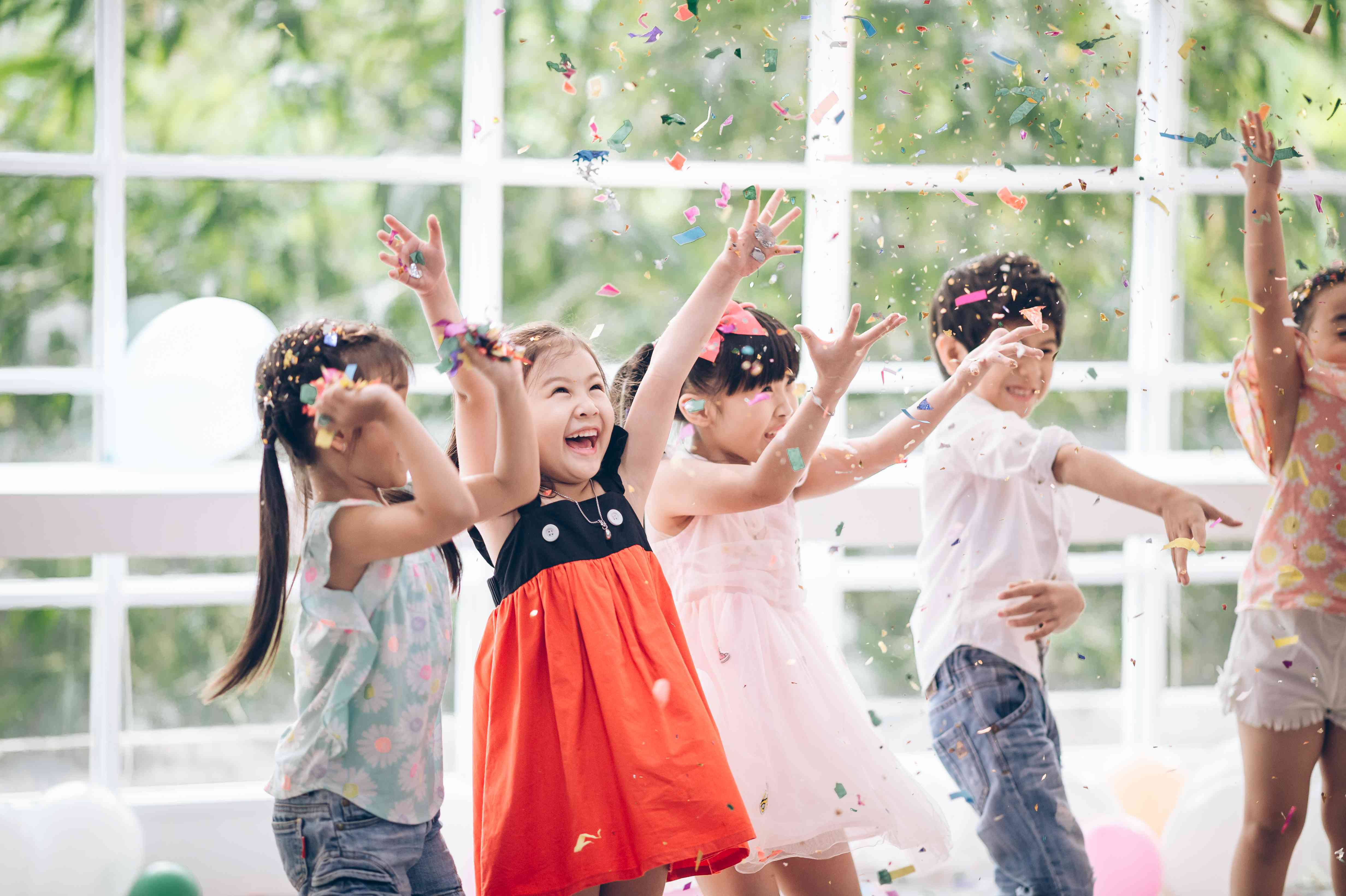 Happy child with Friendship in carnival party or Celebration Party birthday or New Year Christmas