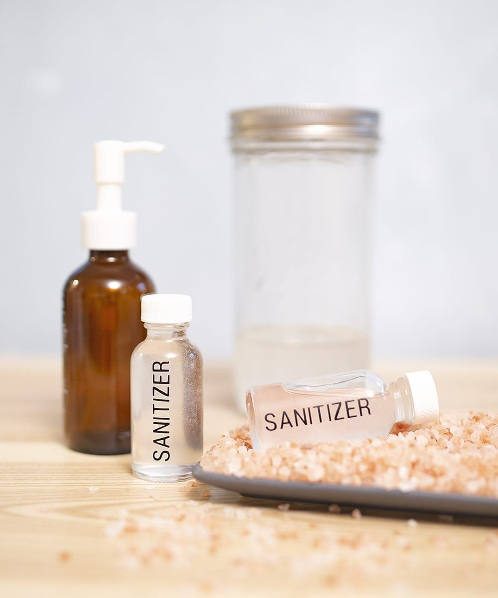 Bottles of DIY hand sanitizer