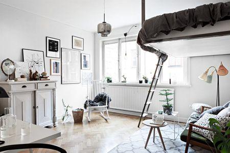 Scandi Studio Loft Bed Tiny Couch