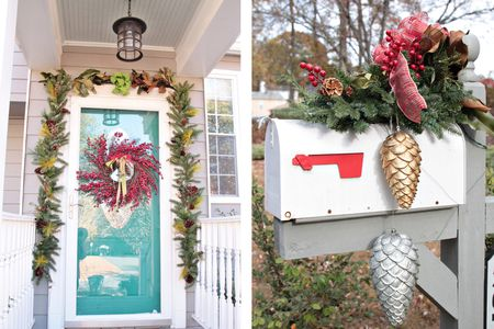 Christmas Mailbox Decorations. Cranberry Wreath Christmas front porch