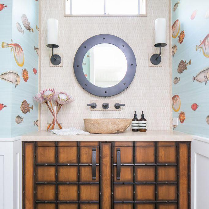 fish wallpaper beach house bathroom