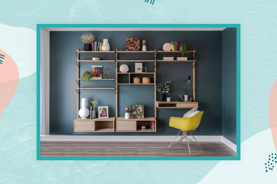 carefully curated shelving follows the triangle rule