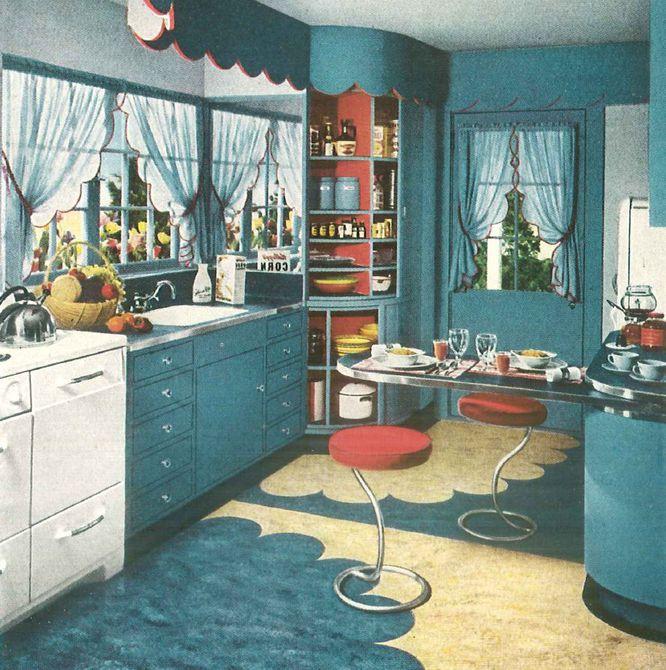 Cocina azul de 1940