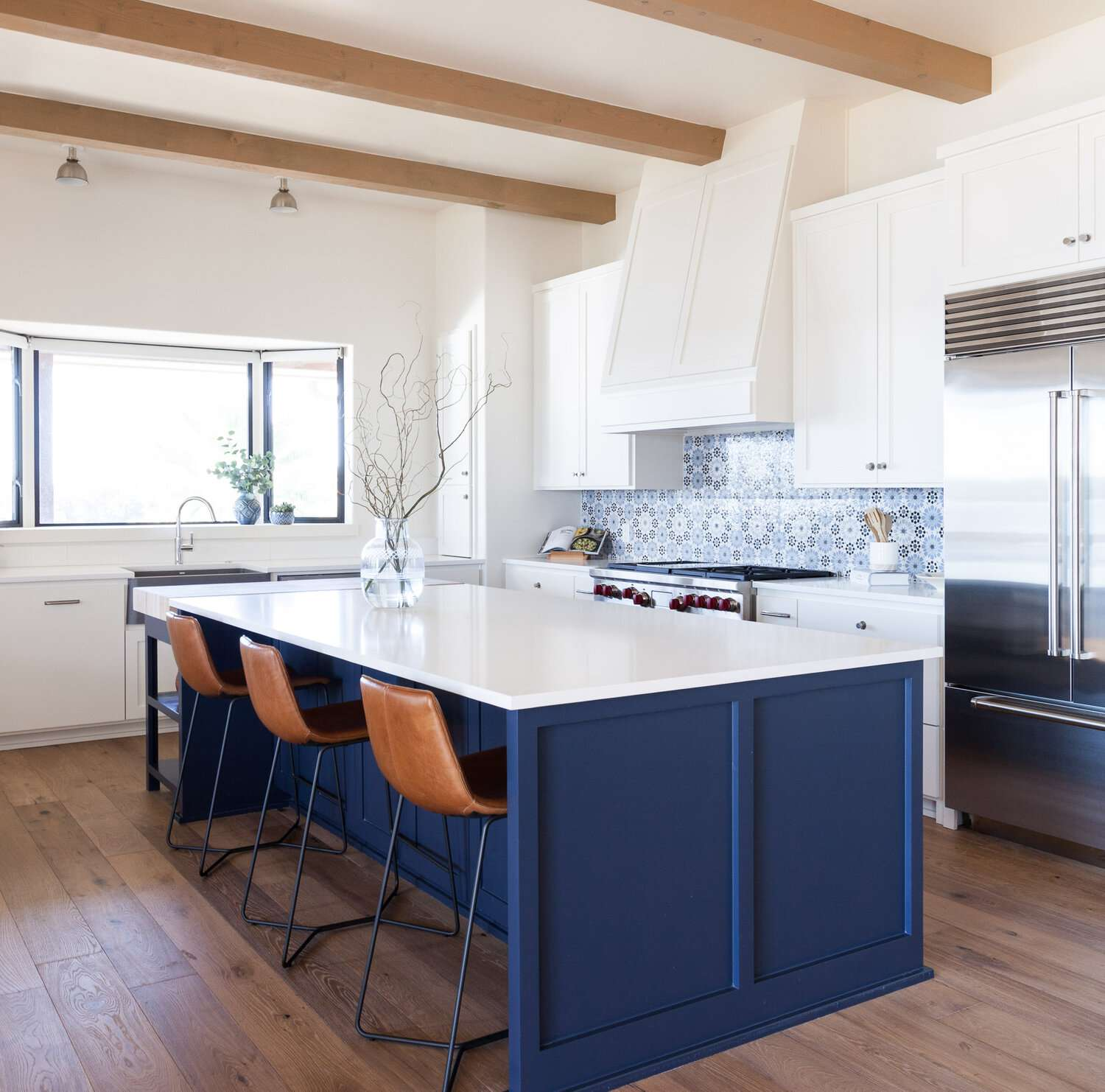 Blue kitchen with beams