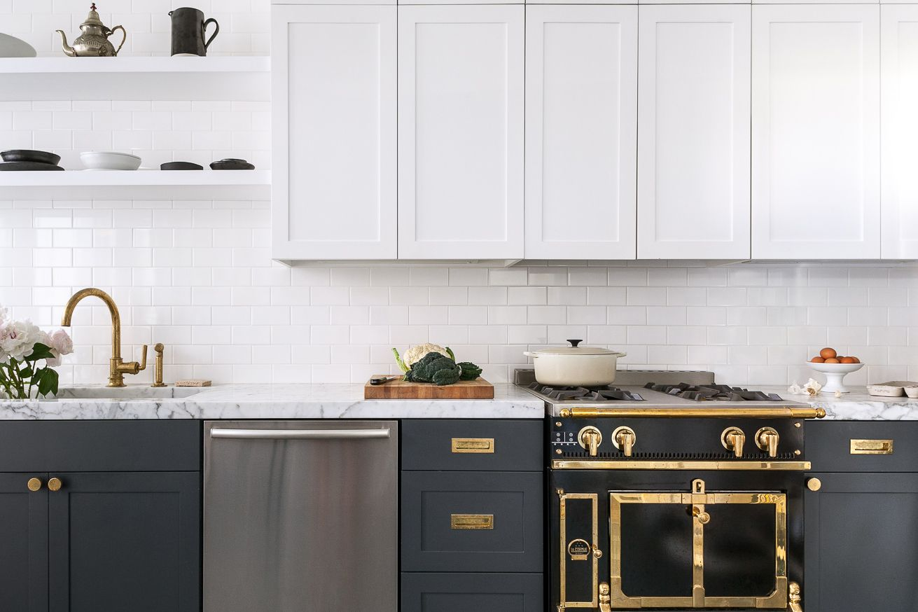 Black, white, and gold kitchen